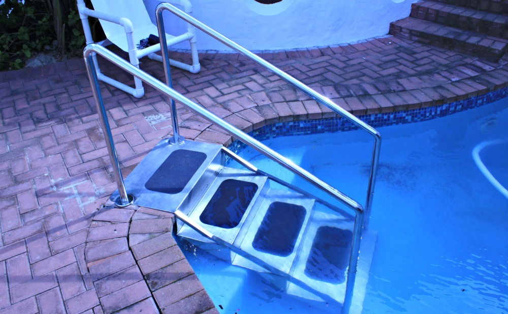 Pool steps installed